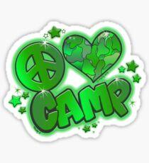 Peace Love Camp Green Camo Sticker