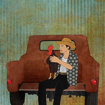 Rooster man and his pick up truck by janetcarlson