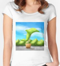 Topiary Dolphin  Women's Fitted Scoop T-Shirt