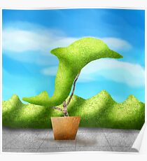Topiary Dolphin  Poster