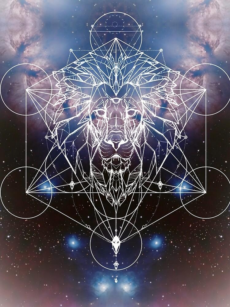 Metatrons Löwenherz, Geometrischer Löwe mit Fraktalnebel von AetherPeak