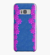Denim Jeans Lookalike with Purple Flowers Samsung Galaxy Case/Skin
