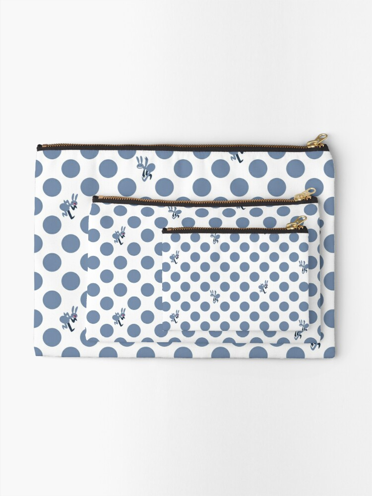 Alternate view of Polka Dot Ants (Blue) Zipper Pouch
