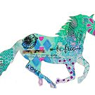 Colorful Galloping Horse Silhouette by MandalaArts