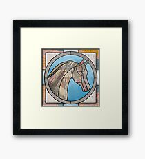 Stained Glass Map Horse Framed Print