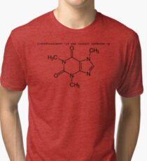 root yum install caffeine -y - Caffeine molecule with Linux love. Tri-blend T-Shirt