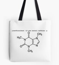 root yum install caffeine -y - Caffeine molecule with Linux love. Tote Bag