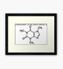root yum install caffeine -y - Caffeine molecule with Linux love. Framed Print