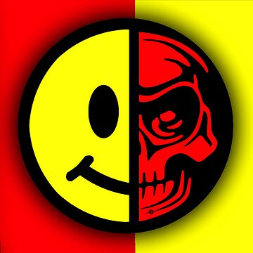 Smiley Face Skull Yellow Red Shadow by RubinoCreative