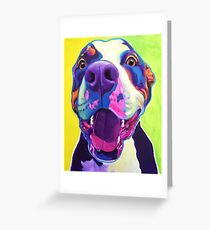 Happy Pit Bull - Smiling Colorful Pitbull Dog Greeting Card