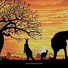 Australian Sunset Kangaroos and Boab by iancoate