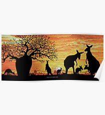 Australian Sunset Kangaroos and Boab Poster