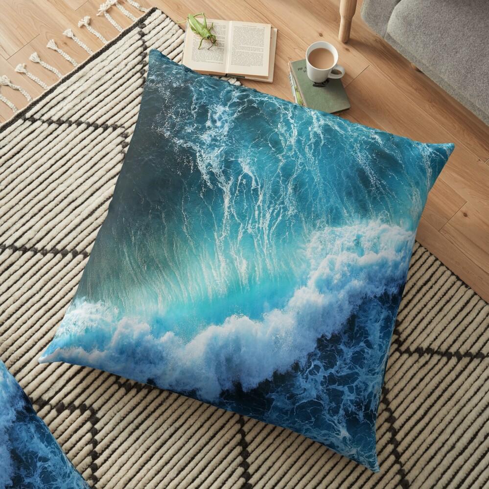 Waving Blue Floor Pillow