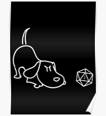 Cute Dog with D20 Dice Funny Dog Lovers Gift Tabletop RPG Gaming Poster