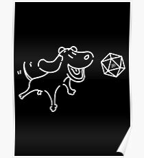 DnD Dog with D20 Dice Cute Funny Gift for Dog Lovers Tabletop RPG Gaming Poster