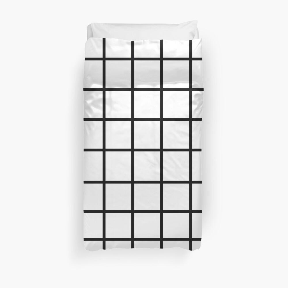 Grid White & Black Duvet Cover