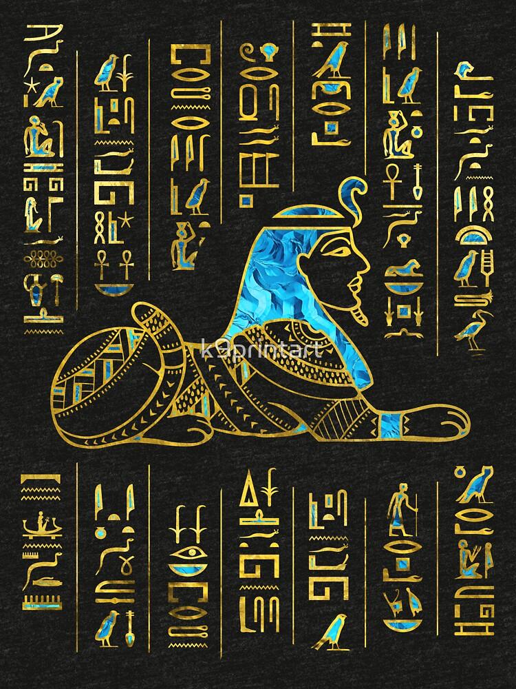 Ägyptische Sphinx auf Hieroglyphen Blauer Kristall und Gold von k9printart