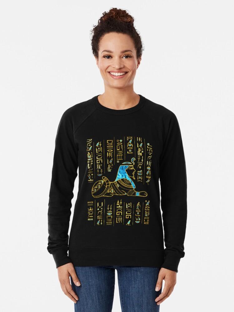 Alternative Ansicht von Ägyptische Sphinx auf Hieroglyphen Blauer Kristall und Gold Leichter Pullover