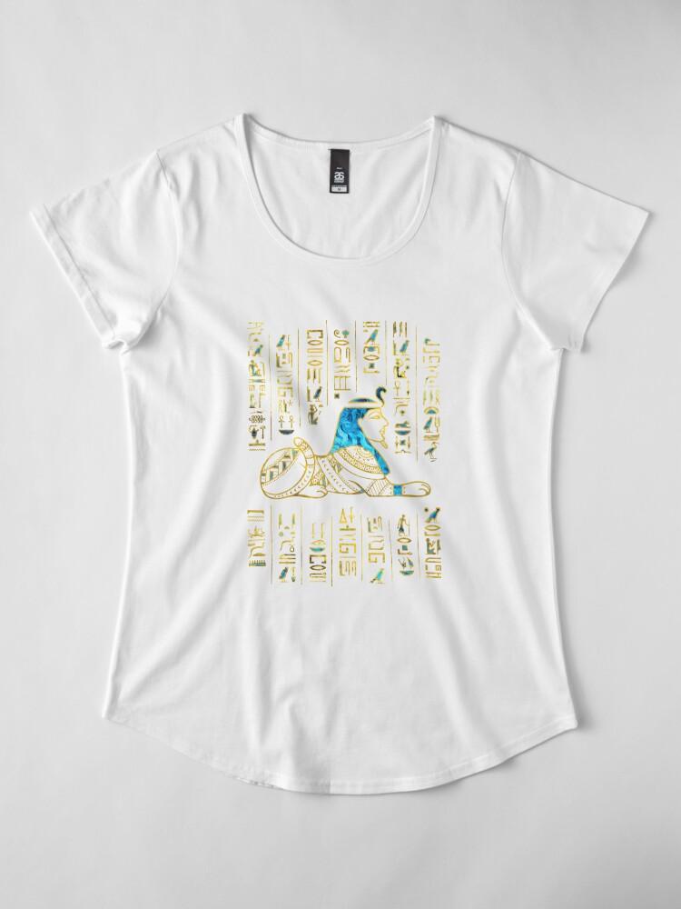 Alternative Ansicht von Ägyptische Sphinx auf Hieroglyphen Blauer Kristall und Gold Premium Rundhals-Shirt