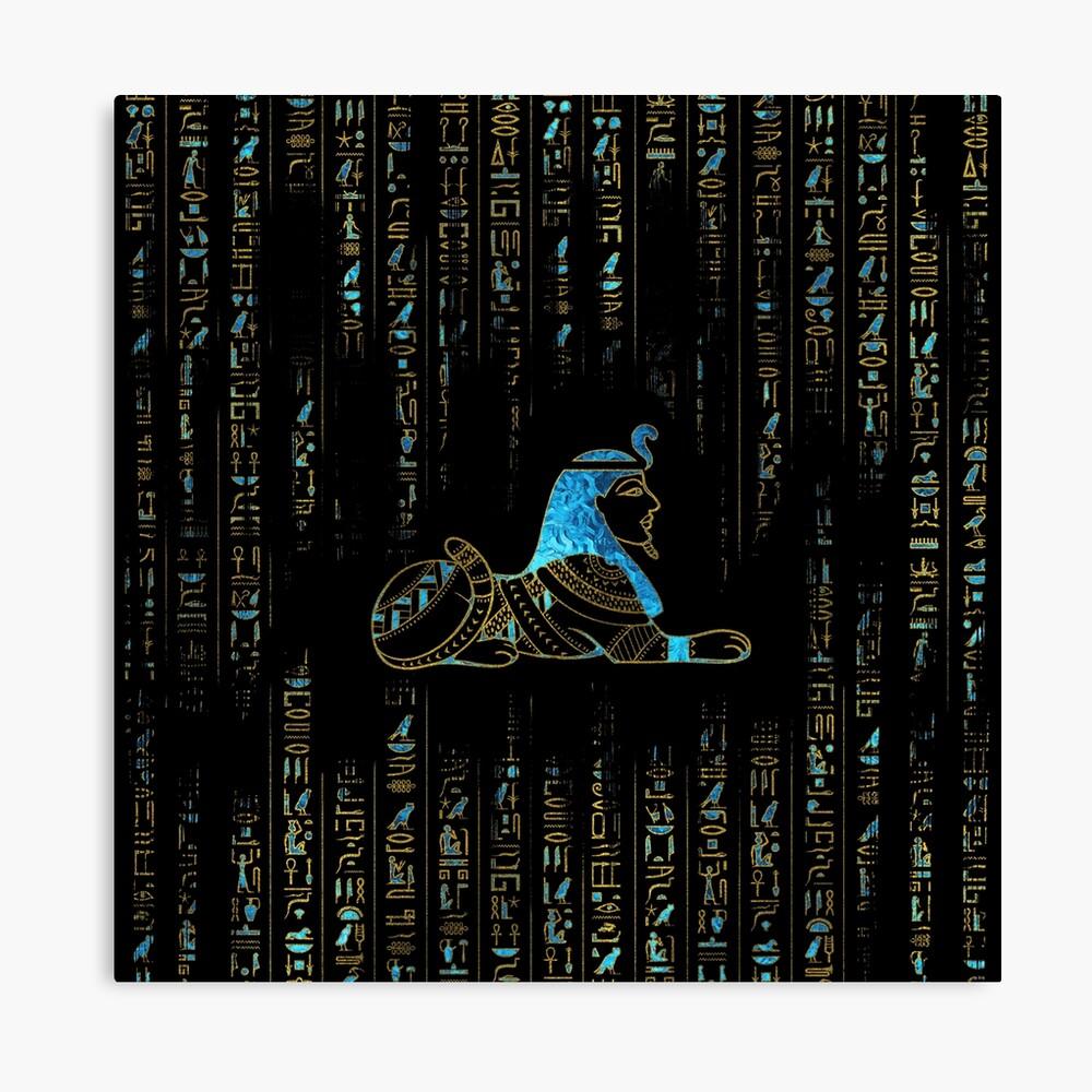 Ägyptische Sphinx auf Hieroglyphen Blauer Kristall und Gold Leinwanddruck