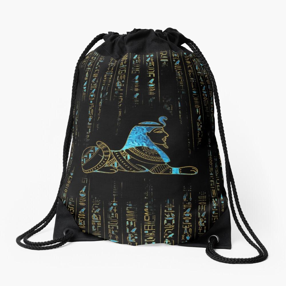 Ägyptische Sphinx auf Hieroglyphen Blauer Kristall und Gold Turnbeutel