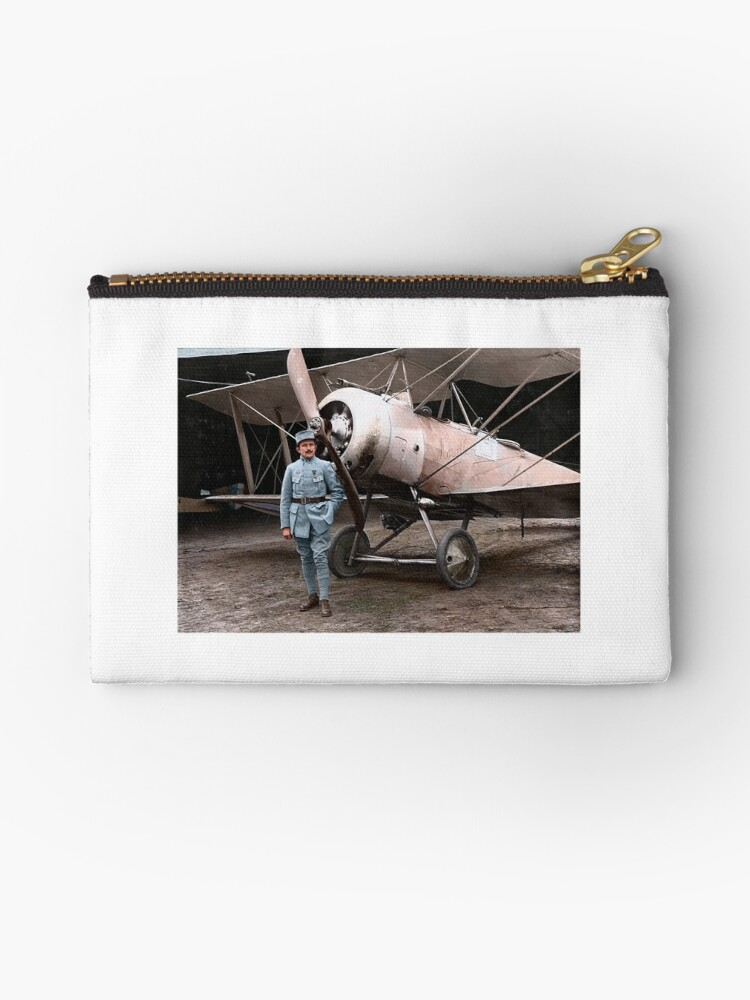 French pilot Justine Usse with his Sopwith Camel, 1917 by Cassowary Colorizations
