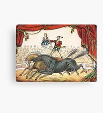 The Two Horse Act - Vintage Circus Art, 1873 Canvas Print