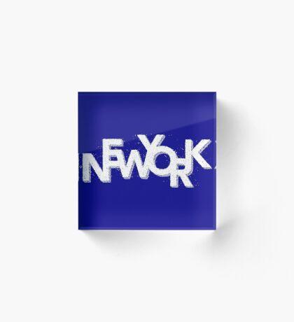 New York Retro 3D White Acrylic Block