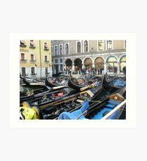 port of gondolas in Venice Art Print