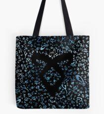 Bolsa de tela Cazadores de sombras runas - patrón / textura con runas de poder angelical que desaparecen (acuarelas azules) - Clary, Alec, Jace, Izzy, Magnus