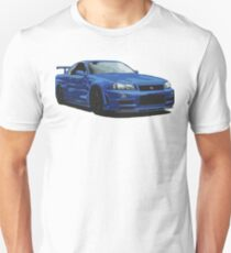 Nissan R34 GTR Skyline blau Unisex T-Shirt