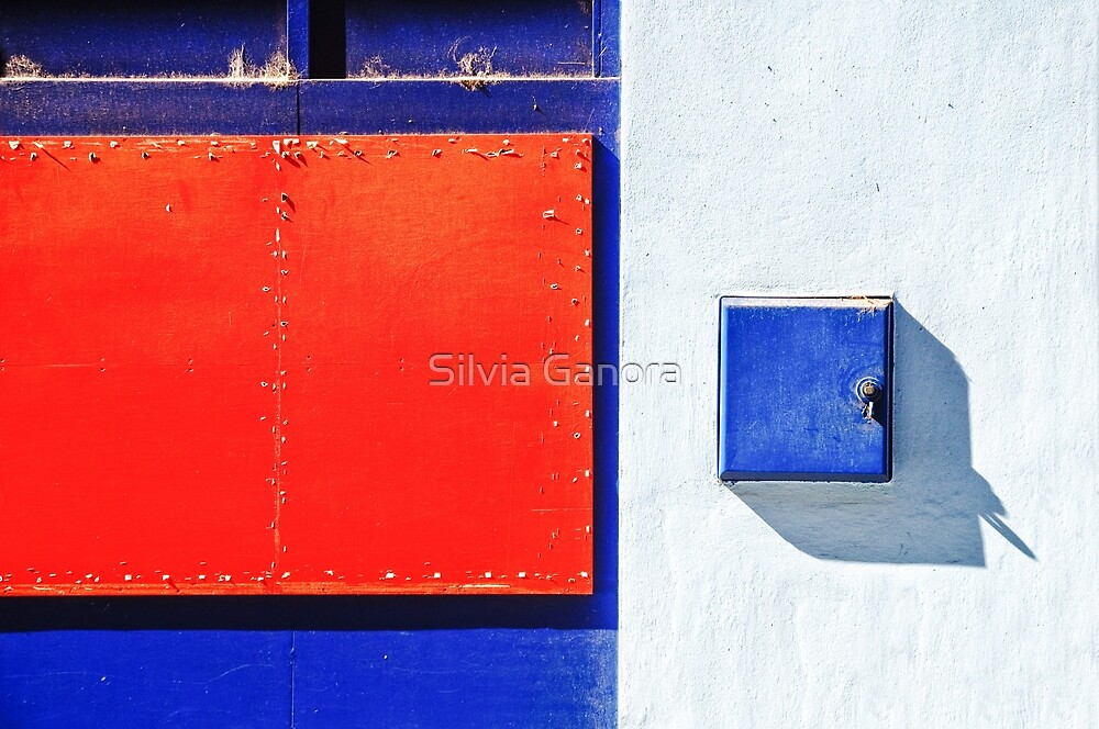 Red, blue and white shapes by Silvia Ganora