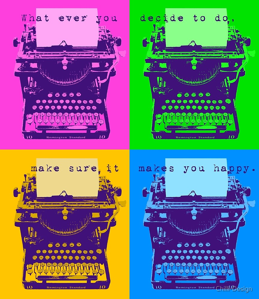 Happy Quote on Old Remington 10 Typewriter Pop Art Style by Chilli-Design