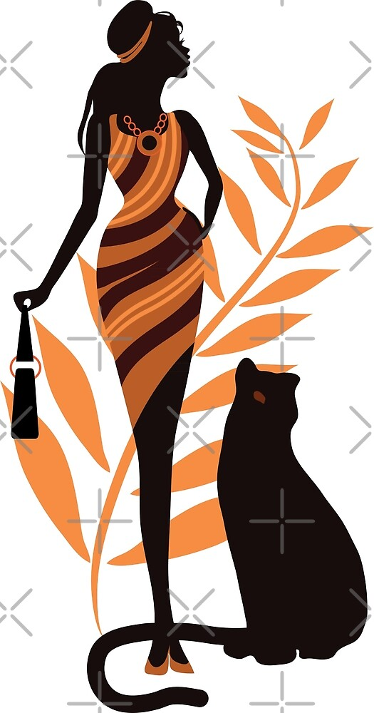 Beautiful girl with a panther. Fashion woman concept stylish vector illustration. Elegant shopping idea by eszadesign