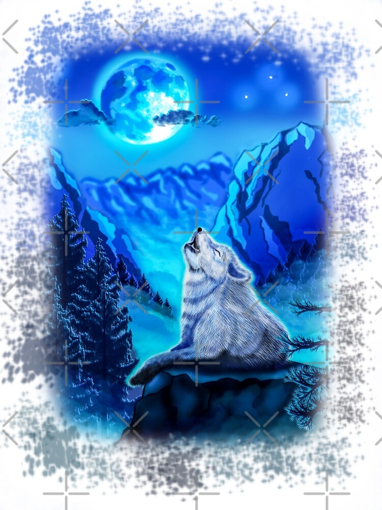 Wolf, Wolf howling at moon, Blue Moonlight, Wolf Painting, Wolf And Moon by RomanDigitalArt