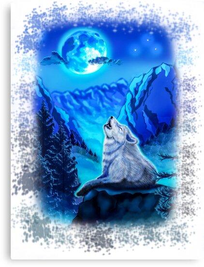 Lienzos Lobo Lobo Aullando A La Luna Azul Claro De Luna Pintura