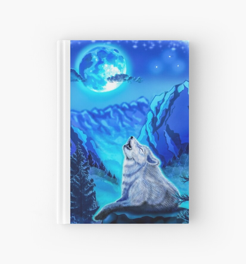 Cuadernos De Tapa Dura Lobo Lobo Aullando A La Luna Azul Claro De