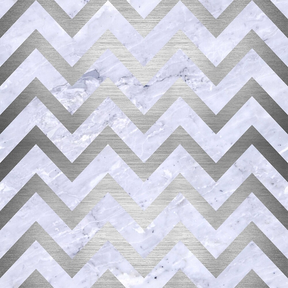 CHEVRON9 WHITE MARBLE & SILVER BRUSHED METAL (R) by johnhunternance