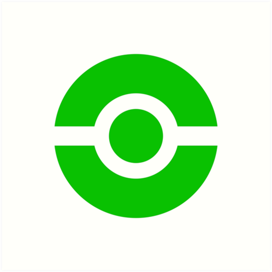 Pokeball Icon Green Art Prints By Cluper Redbubble