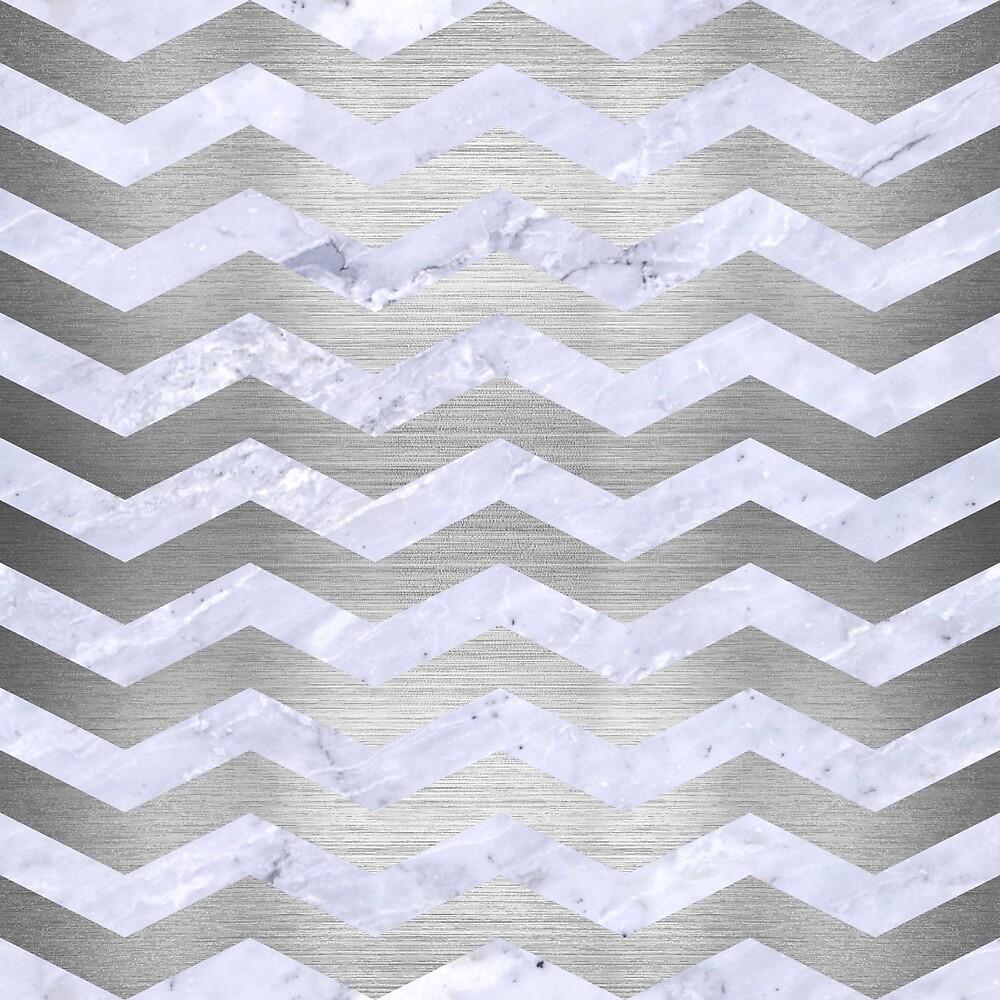 CHEVRON3 WHITE MARBLE & SILVER BRUSHED METAL by johnhunternance