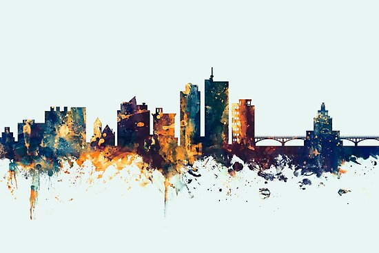 Cedar Rapids Iowa Skyline by Michael Tompsett