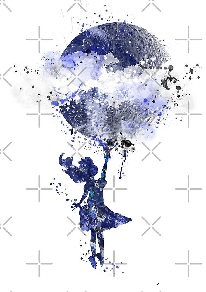 Alice with a moon, Alice in wonderland, girl nursery,  moon art by Rosaliartbook
