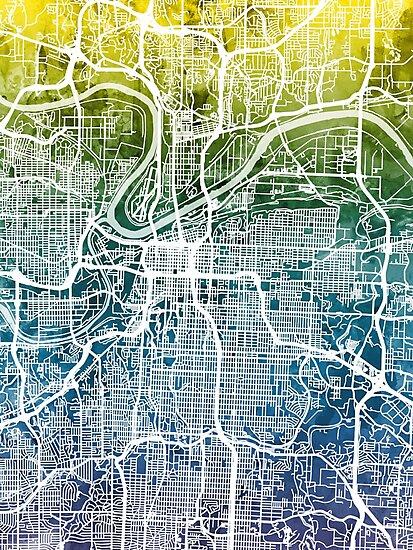 Kansas City Missouri City Map by Michael Tompsett