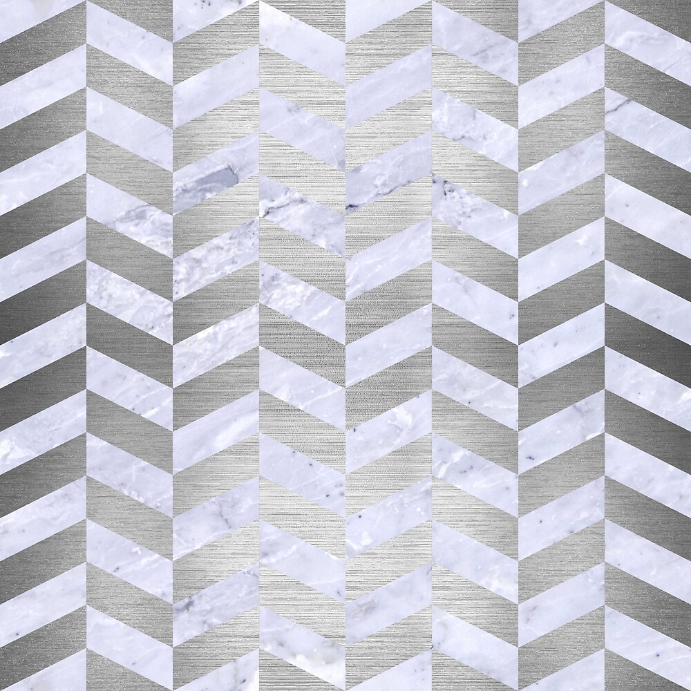 CHEVRON1 WHITE MARBLE & SILVER BRUSHED METAL by johnhunternance