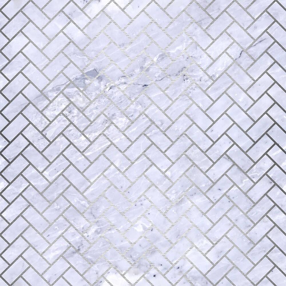 BRICK2 WHITE MARBLE & SILVER BRUSHED METAL (R) by johnhunternance