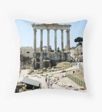 Temple Of Saturn, Roman Forum, Rome, Italy Throw Pillow
