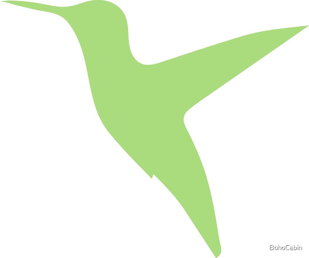 Green Hummingbird Print by BohoCabin