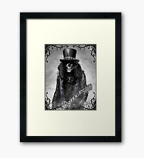 Heavy metal skull guitarist Framed Print