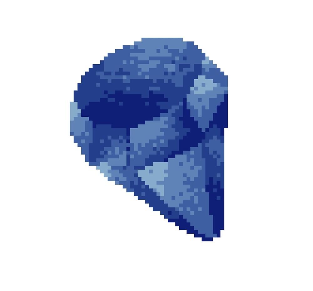 Sapphire Crystal Pixel Art / September Birthstone Pixel Art by PixlPrints