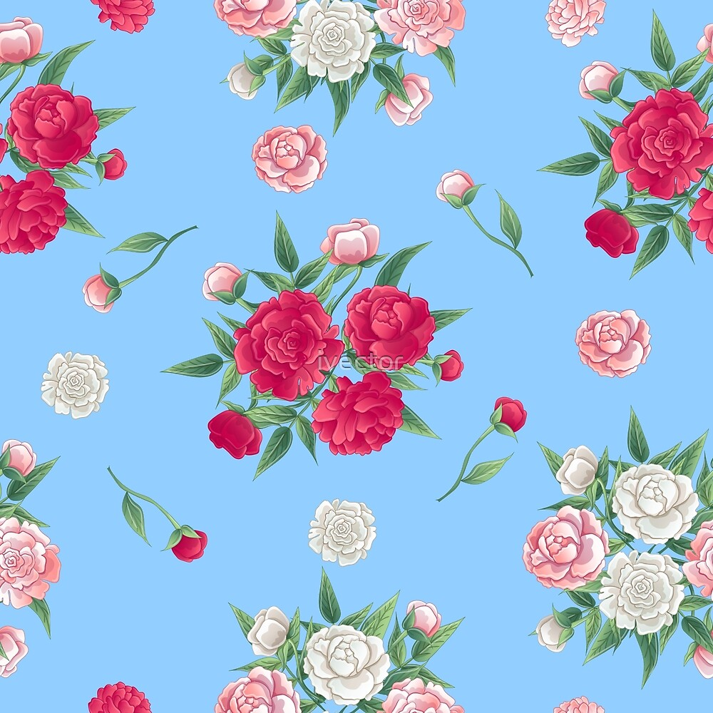 Floral Seamless Pattern. Peonies Background. Pink and White Peon.  by ivector